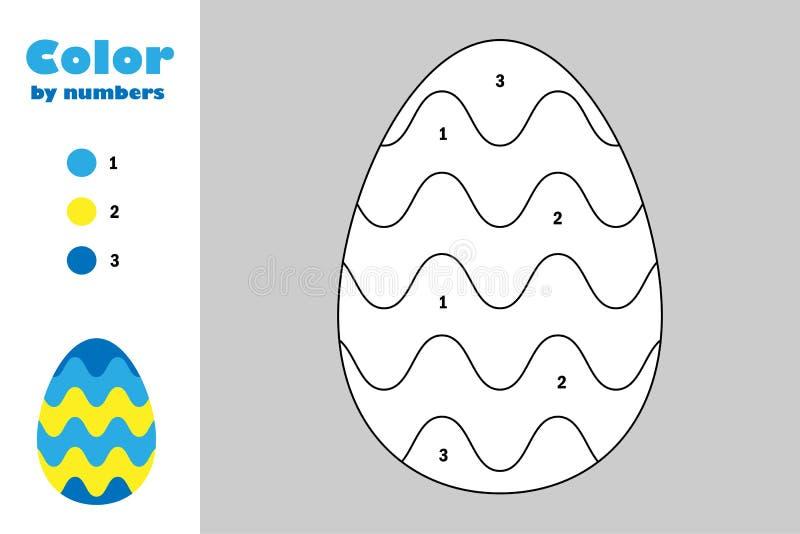 Ei in beeldverhaalstijl, kleur door aantal, Pasen-onderwijsdocument spel voor de ontwikkeling van kinderen, kleurende pagina, jon stock illustratie