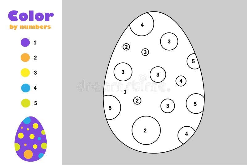 Ei in beeldverhaalstijl, kleur door aantal, Pasen-onderwijsdocument spel voor de ontwikkeling van kinderen, kleurende pagina, jon royalty-vrije illustratie