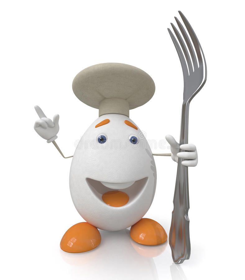 Ei de kok met een vork royalty-vrije illustratie