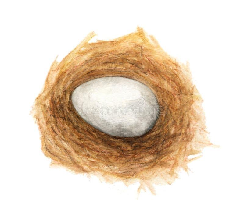Ei in de nestwaterverf het schilderen illustratie op witte achtergrond vector illustratie