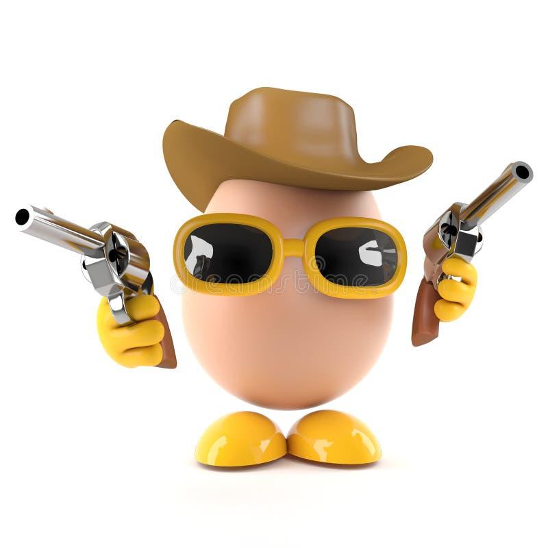 Ei des Cowboys 3d lizenzfreie abbildung