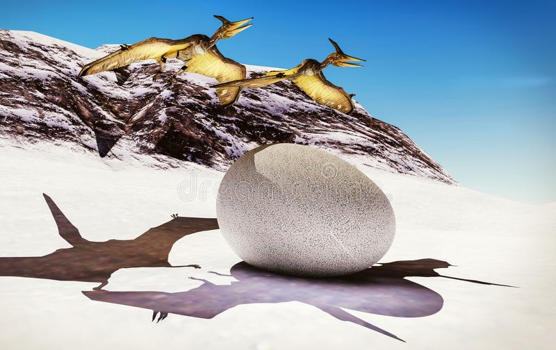 Ei en pterodactylus het 3d teruggeven stock illustratie