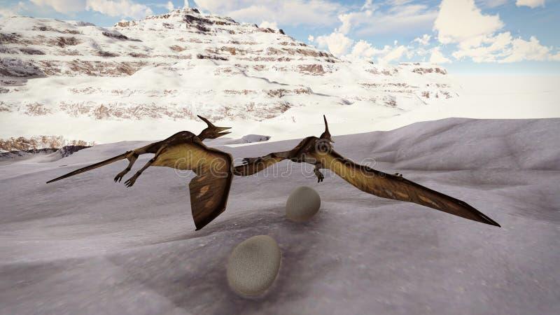 Ei en pterodactylus het 3d teruggeven royalty-vrije illustratie