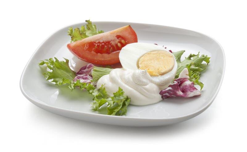 Ei en tomaat met salade royalty-vrije stock foto's