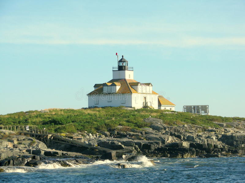 Ei-Felsen-Leuchtturm Maine, USA lizenzfreie stockbilder