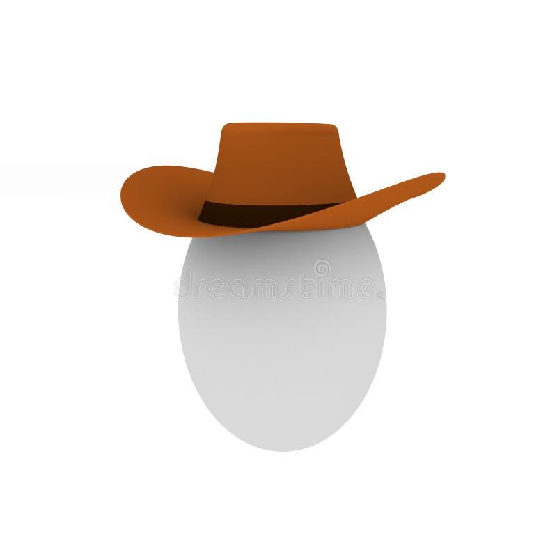 Ei im braunen Cowboyhut lizenzfreie abbildung