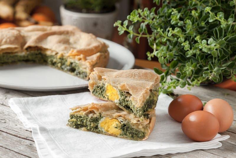 Ei-Mangoldgemüse-wohlschmeckende Torte stockbilder