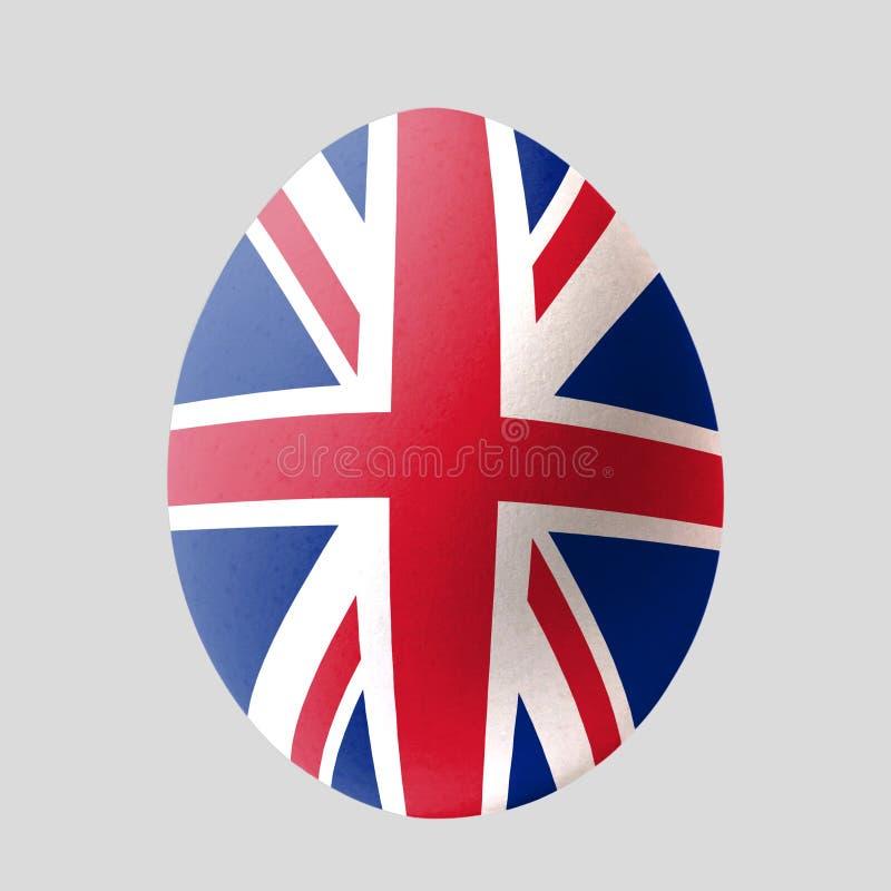 Ei op een grijze achtergrond die in de Britse vlag wordt geschilderd stock illustratie
