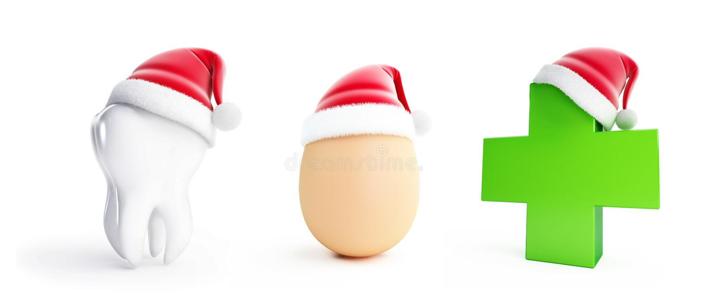 Ei, Tand, Medische cros santahoed op een witte 3D illustratie als achtergrond royalty-vrije illustratie