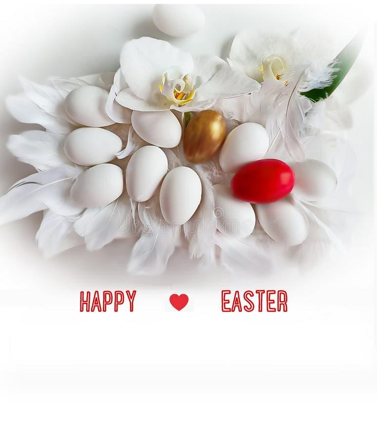 Ei-und Blumen-Orchideen-glücklicher Ostern-Hintergrund rote gelbe Frühlings-Ostern-Thema-Feiertagsentwurfsillustration stock abbildung
