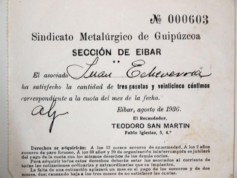 Eibar metalwork opłaty zrzeszeniowy bilet spanish cywilna wojna obrazy royalty free
