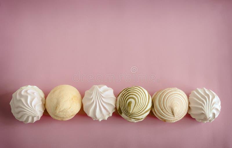 Eibische der unterschiedlichen Vielzahl auf einem rosa Hintergrund stockfoto