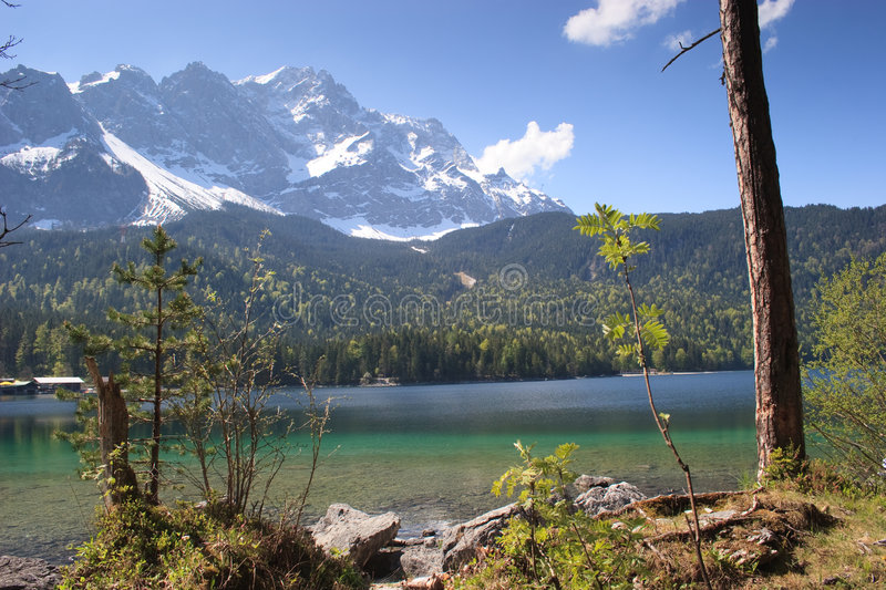 Eibsee, the emerald lake at the base of Zugspitze royalty free stock image