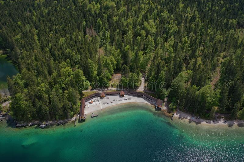 Eibsee Lake Surrounded by Trees royalty free stock photos