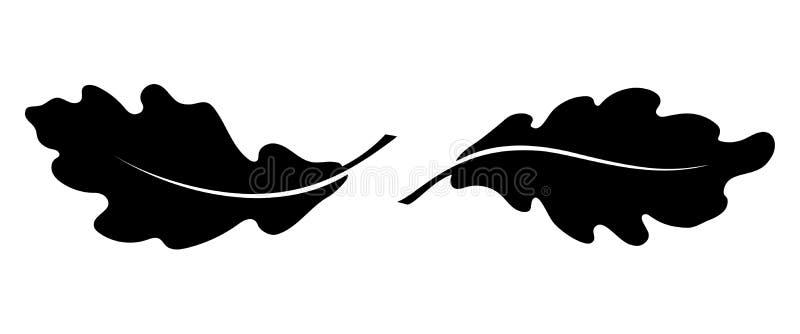 Eiche zwei verlässt schwarze Ikonen vektor abbildung
