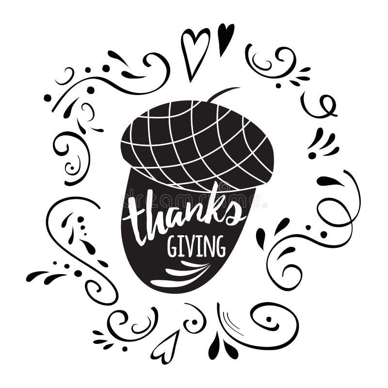 Eicheldruck Dank, der in der schwarzen Art gibt Vektor-Danksagungstag mit abstrakter Verzierung lizenzfreie abbildung
