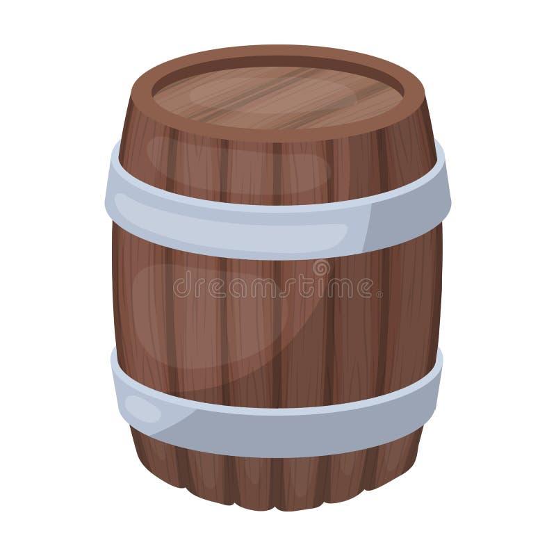 Eichenfassbier Ein Fass, in dem Bier gebraut wird Einzelne Ikone der Kneipe in der Karikaturartvektorsymbol-Vorratillustration vektor abbildung