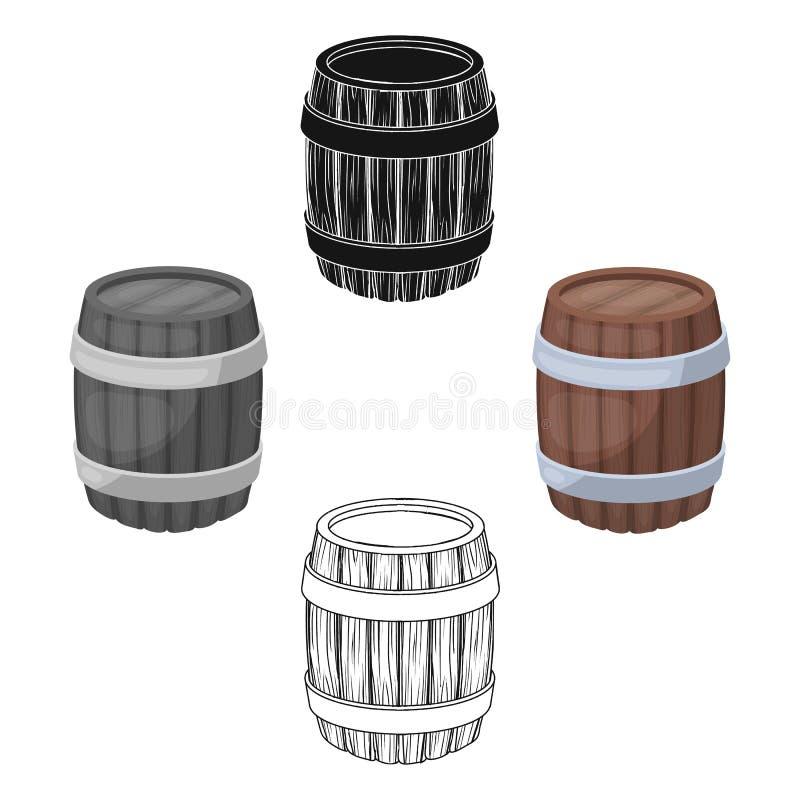 Eichenfassbier Ein Fass, in dem Bier gebraut wird Einzelne Ikone der Kneipe in der Karikatur, schwarzer Artvektor-Symbolvorrat lizenzfreie abbildung