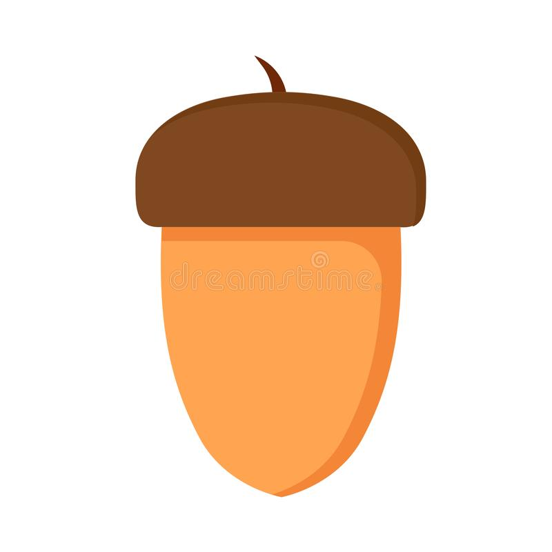 Eichennussbrauneichhörnchennahrungsmittelmakroeichelvektor Lokalisiertes gesundes Element der Ikone vektor abbildung