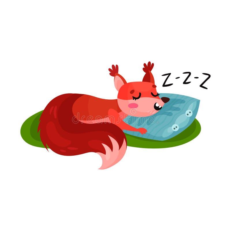 Eichhörnchen, das auf dem weichen Kissen im Freien schläft Kleines Waldnagetier, das auf grünem Gras Nickerchen macht Flacher Vek vektor abbildung