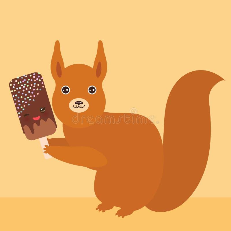 Eichhörnchen mit SchokoladenEiscreme, Eislutscher Kawaii mit rosa Backen und blinzeln Augen, Pastellfarben auf hellorangeem golde lizenzfreie abbildung