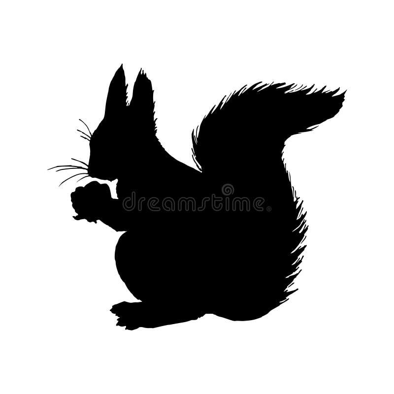 Eichhörnchen-Schattenbild Schwarze weiße Ikone Auch im corel abgehobenen Betrag lizenzfreie abbildung