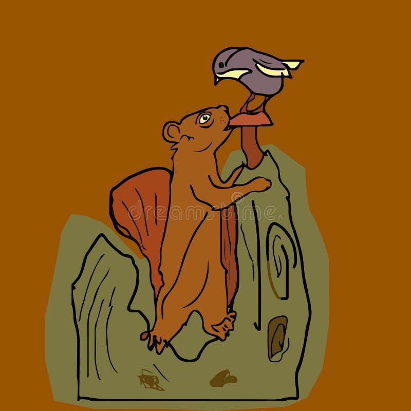 Eichhörnchen und Vogel im forestIllustration Herbst auf dem backg stock abbildung