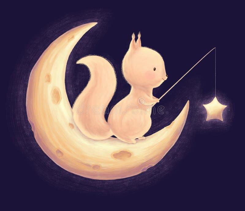 Eichhörnchenfang die Sterne stock abbildung