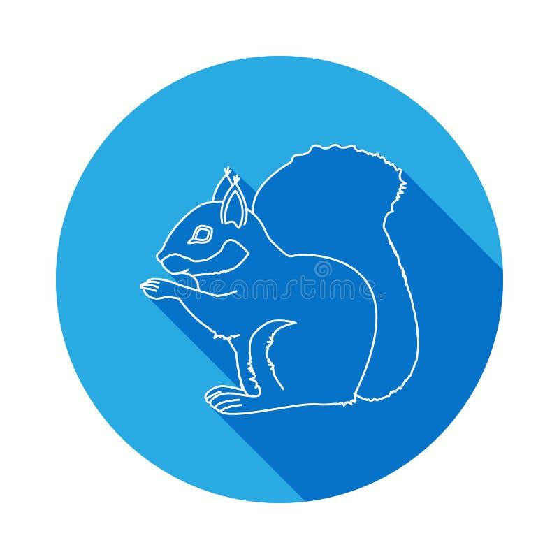 Eichhörnchenikone mit langem Schatten Eins von Spezies von Nagetieren Erstklassige Qualitätsgrafikdesignikone Zeichen und Symbole lizenzfreie abbildung