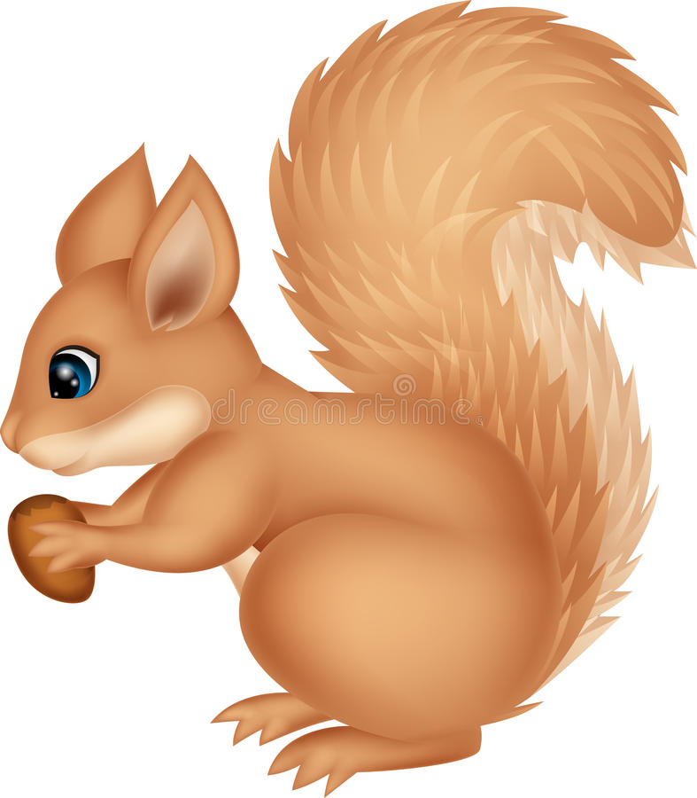 Eichhörnchenkarikaturhaltemutter stock abbildung