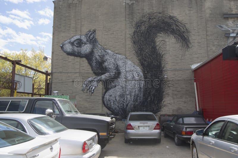 Eichhörnchenwandgemälde in Williamsburg-Abschnitt in Brooklyn stockbild