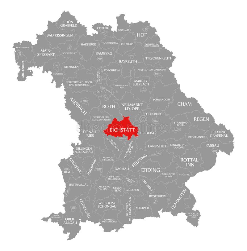 Eichstaett okręgu administracyjnego czerwień podkreślająca w mapie Bavaria Niemcy ilustracja wektor