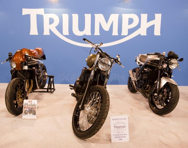 EICMA 2010 - Bicicletas do carrinho 3 do triunfo imagens de stock royalty free