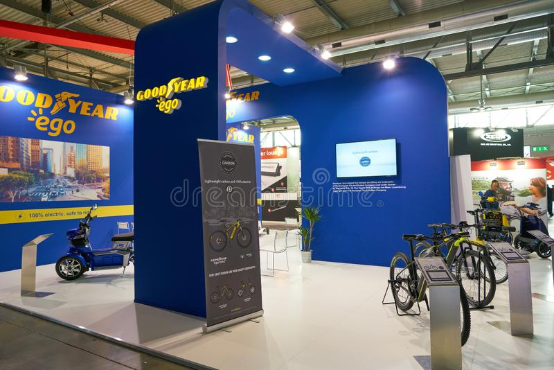 EICMA exhibition. MILAN, ITALY - NOVEMBER 11, 2017: bikes on display during the EICMA 2017 - 75th International Motorcycle Exhibition royalty free stock image