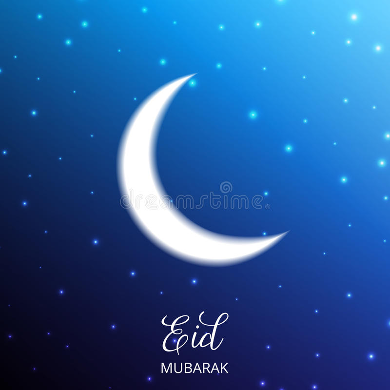 eid穆巴拉克 与光滑的光和bokeh背景的月亮 伊斯兰教的假日卡片图片