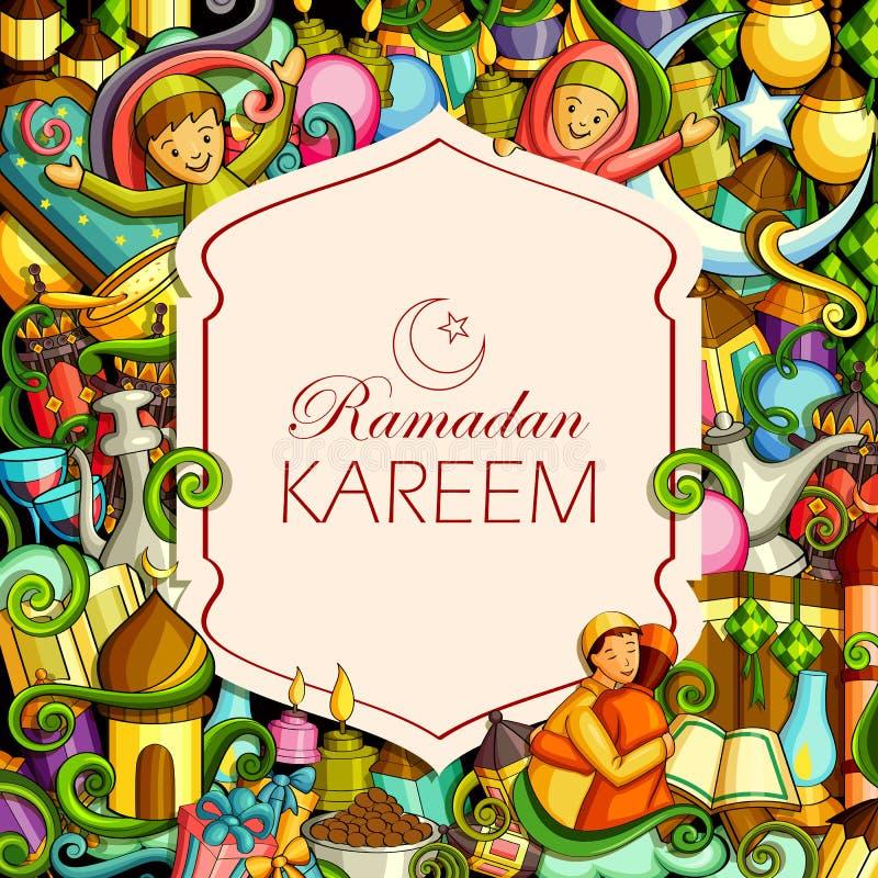 Eid背景的Eid穆巴拉克祝福 向量例证