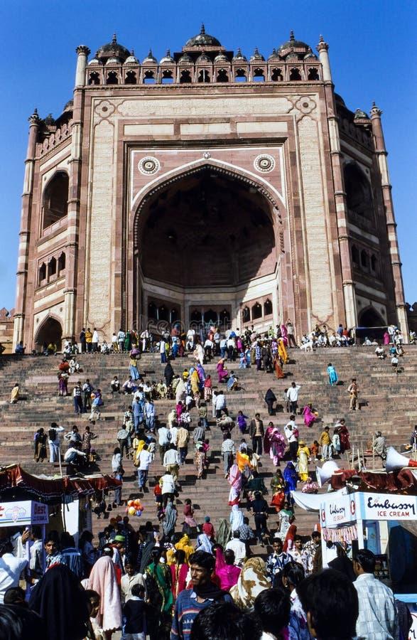 Eid节日的穆斯林在法泰赫普尔西克里,印度 库存图片