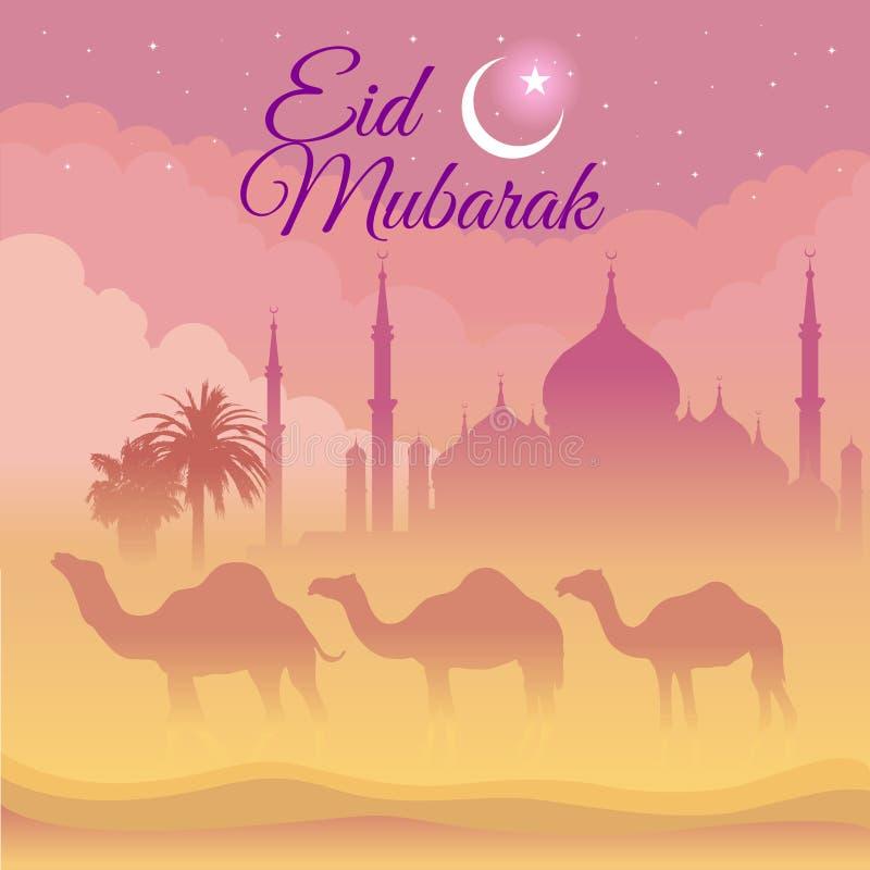 Eid Μουμπάρακ - καμήλα και μουσουλμανικό τέμενος στην έρημο τη νύχτα ελεύθερη απεικόνιση δικαιώματος