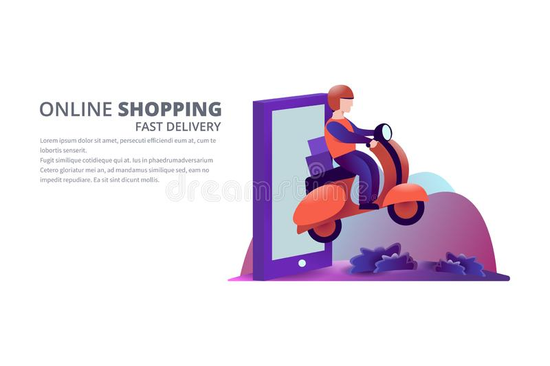 Online shopping vector illustration stock photos