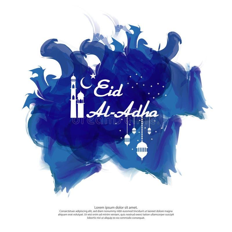 Eid Al Adha穆巴拉克伊斯兰教的贺卡设计 抽象蓝色水彩装饰品元素 背景传染媒介例证 向量例证