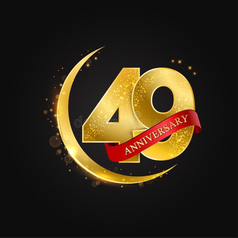 Eid al Adha 49 år årsdag Modellen med den arabiska guld- guld- halvmånen och blänker royaltyfri illustrationer