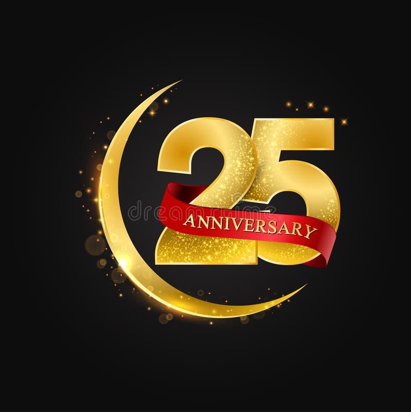 Eid al Adha 25 anos de aniversário Teste padrão com meia a lua árabe dourada, do ouro e o brilho ilustração stock