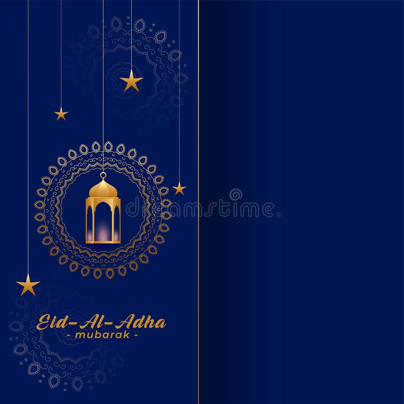 Eid al adha bakreed greeting in gold and blue colors. Vector vector illustration