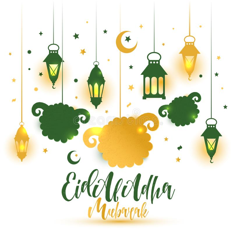 Eid Al Adha Calligraphy Text con l'illustrazione delle pecore per eid Mubarak Celebration Background royalty illustrazione gratis