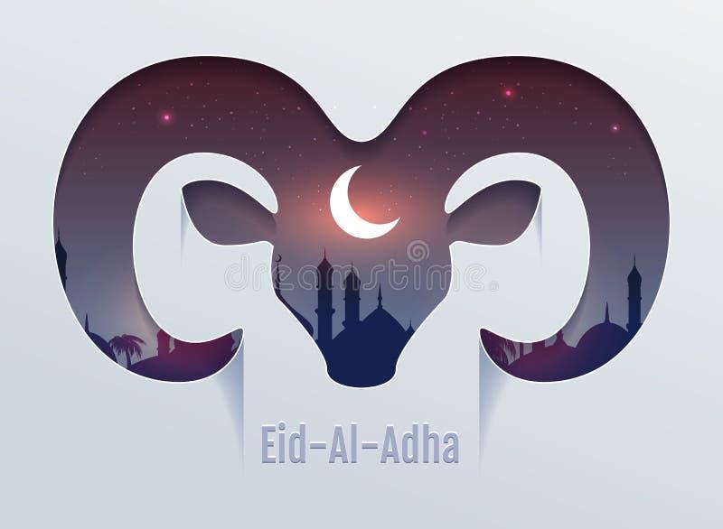 Eid al Adha Feast van Offer Hoofd van ramssilhouet, minaret en maan in nachthemel royalty-vrije illustratie