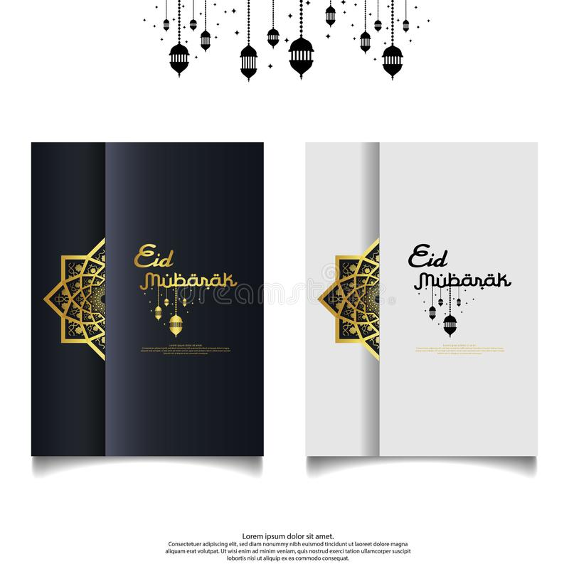 Eid al Adha or Fitr Mubarak islamic greeting card, cover, flyer design. abstract mandala with pattern ornament and hanging lantern. Element. background Vector royalty free illustration