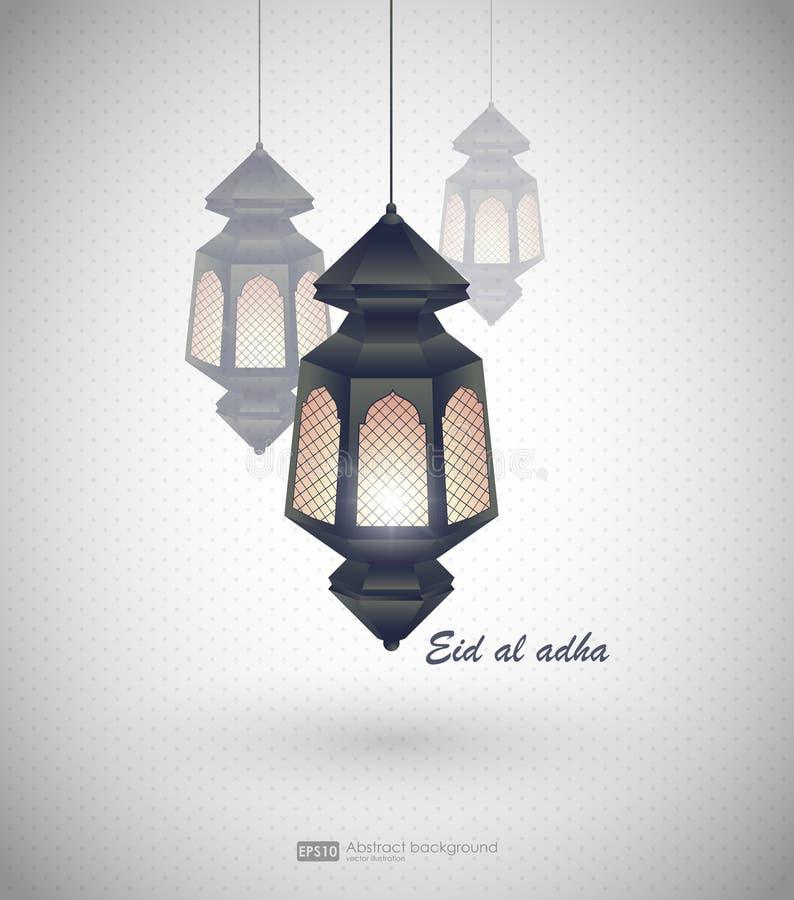 Eid Al Adha Grußkartenschablone auf moslemischem religiösem Feiertag Eid Al-Fitrs mit Laternen auf unscharfem Lichthintergrund lizenzfreie abbildung
