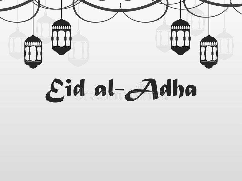 Eid al-Adha Hängande lyktor, girland Kurban Bajram muslimfestival av offret ramadan kareem letters amerikansk för färgexplosionen stock illustrationer