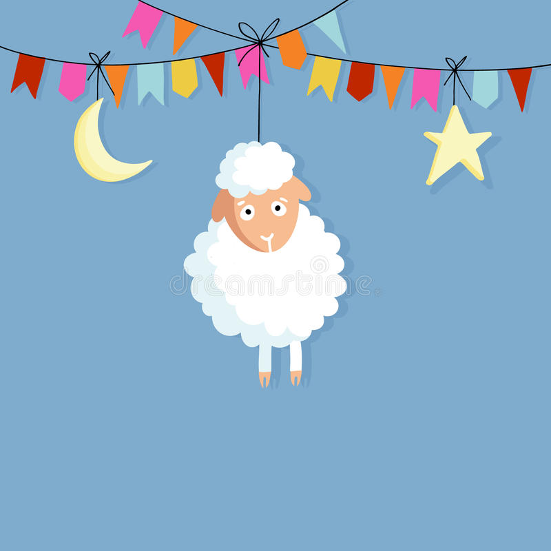 Eid al Adha. Hand drawn sheep with party flags, moon and star. Vector illustration backgroud for Muslim holiday of sacrifice. stock illustration