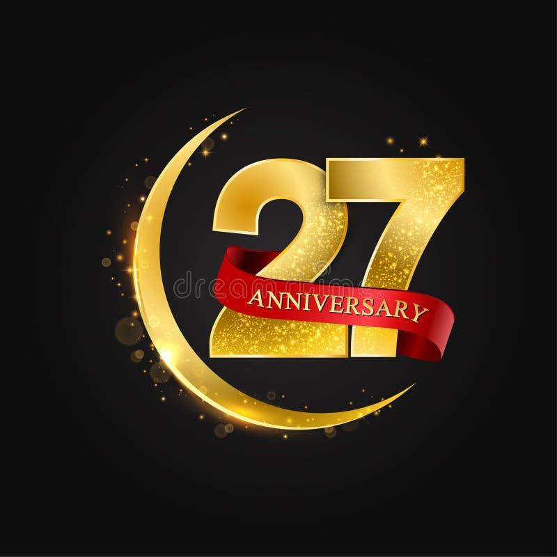 Eid al Adha 27 jaar verjaardags Het patroon met Arabische gouden, gouden halve maan en schittert stock illustratie